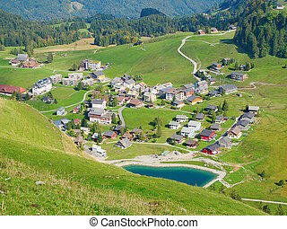 Aerial view of small swiss village