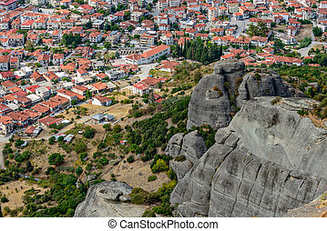 Aerial view of small town in Greece