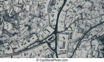 Aerial view of small town in winter. - Aerial view of small...
