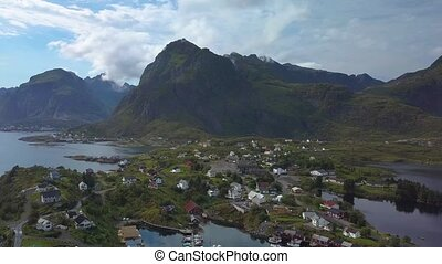 Aerial view of small village in Norway, Sorvagen