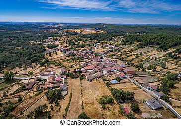 Aerial view of small village of Moveros