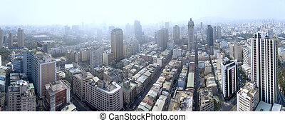 aerial view of smog in city