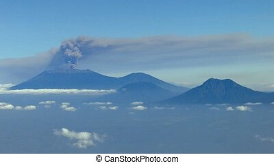 Aerial View of Smoke and Ash from a Indonesian Raung...