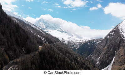 Aerial view of Snowy Peaks of Swiss Alps and Pine Forest in the Gorge. Switzerland. Panoramic view on High Mountain Range. The landscape of Mountain Highway. Sunny day with blue sky. Europe. Spring.