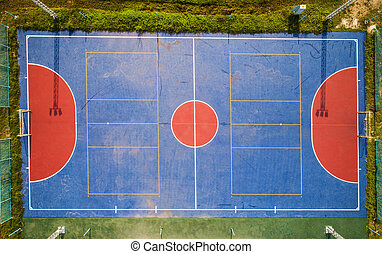 Aerial view of soccer futsal field in local.