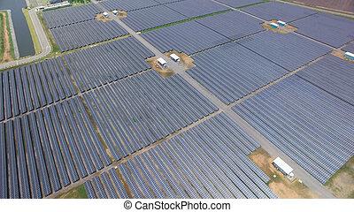 Solar cell farm - Aerial view of Solar cell farm