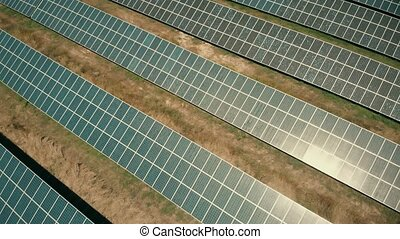 Aerial view of solar energy farm - Aerial view on blue solar...