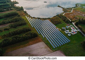 Aerial view of solar farm. Green renewable energy from sun