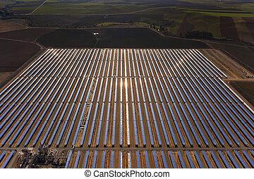 aerial view of solar parabolic power plant