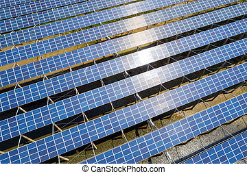 solar power generation - aerial view of solar power...