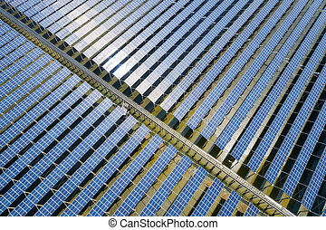 aerial view of solar power panels