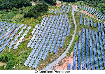 solar power panels on hillside