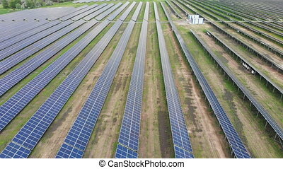 Aerial view of Solar Power Station. Field of Solar Panels ...