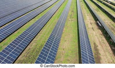 Aerial view of Solar Power Station. Solar Farm. Field of ...