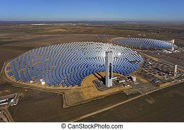 aerial view of solar thermal power plant