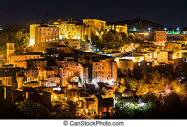 Aerial view of Sorano, a town in the province of Grosseto, southern Tuscany, Italy