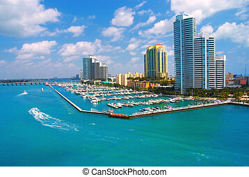 Aerial view of South Miami Beach and skycrappers