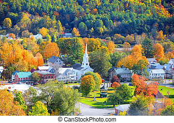 Aerial view of South Royalton, Vermont in autumn time