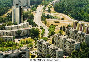 Aerial view of soviet era prefab houses in Lazdynai, Vilnius, Lithuania