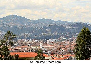 Aerial view of Spanish Colonial historic center in Cuenca, Ecuador