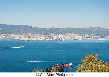 Aerial view of spanish port Algeciras
