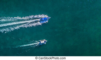 Aerial view of speed boat in the sea