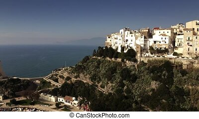 Aerial view of Sperlonga beachfront and ancient Torre ...