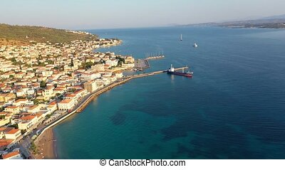Aerial view of Spetses old town and marina or seaport, Greece - drone videography. High quality 4k footage