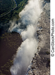 Aerial view of spray hiding Victoria Falls