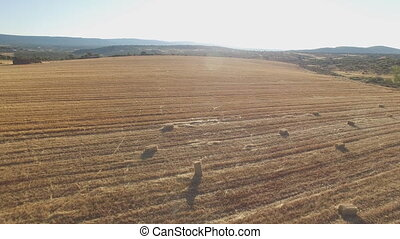 Aerial view of square bales in the field against sun -...