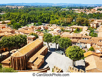 Aerial view of St. Gimer church in Carcassonne