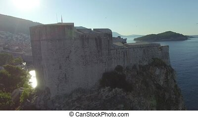 Aerial view of St Lawrence Fortress in Dubrovnik, Croatia