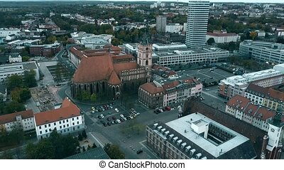 Aerial view of St. Marienkirche church in Frankfurt on the...