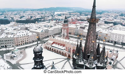 Aerial view of St. Mary's Basilica on main square in Krakow - Historic buildings
