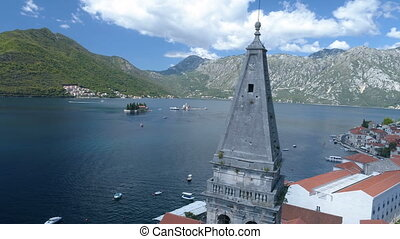 Aerial view of St. Nicholas Church in Perast, Kotor Bay. -...