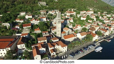 Aerial view of St. Nicholas Church in Perast, Montenegro -...