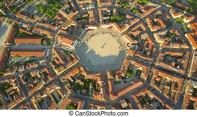 Aerial view of star-shape town of Palmanova, Italy - Aerial...