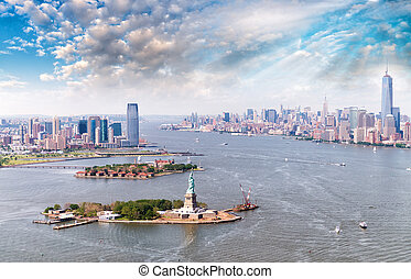 Aerial view of Statue of Liberty - Manhattan and Jersey...