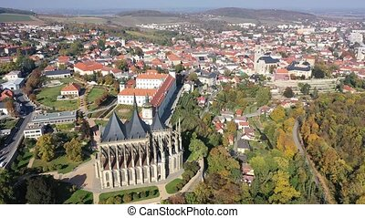 View from drone of Czech town Kutna Hora with medieval Saint Barbara Cathedral