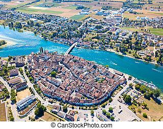 Stein-Am-Rhein - Aerial view of Stein-Am-Rhein medieval city...