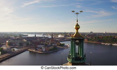 Aerial view of Stockholm City early morning