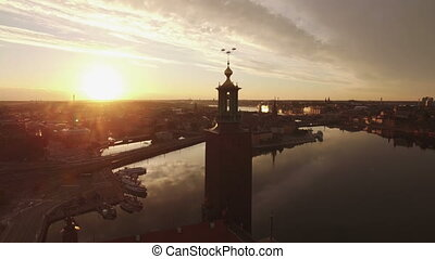 Aerial view of Stockholm City early orning