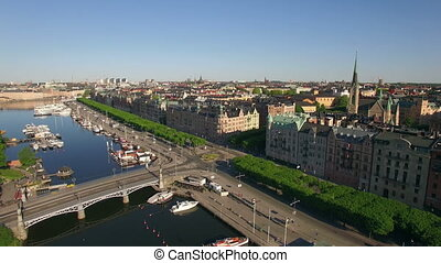 Aerial view of Stockholm City in summer