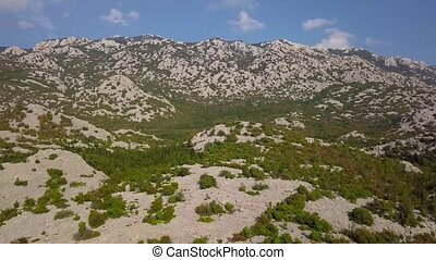 Aerial view of stone mountains in Croatia