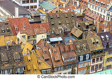aerial view of Strasbourg  to the old city