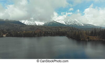 Aerial view of Strbske Pleso in the Clouds and Snowy...