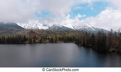 Aerial view of Strbske Pleso, Slovakia. Mountain Lake in...