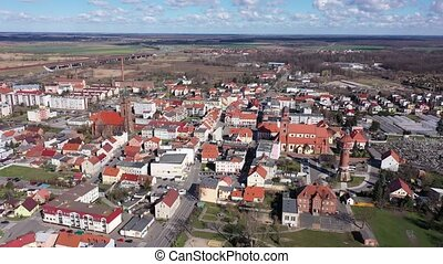 Picturesque view from drone of city of Zmigrod at sunny spring day, Poland