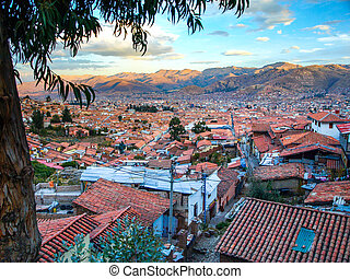 Aerial view of streets and houses in Cusco city, Peru