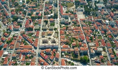 Aerial view of streets and houses in Pula, Croatia